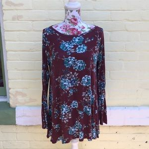 Burgundy tunic with navy, teal, turquoise flowers